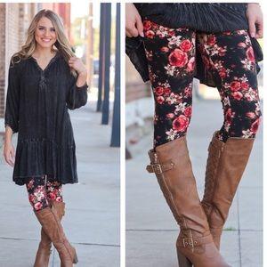 Black floral print stretch leggings